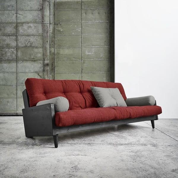 Sofa rozkładana Karup Indie Black/Passion Red/Granite Grey
