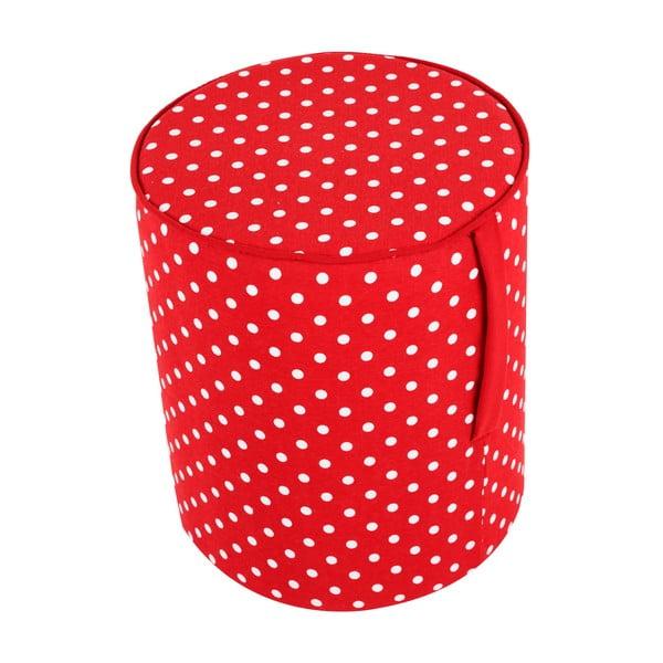 Okrągły puf Pois, červený wzór