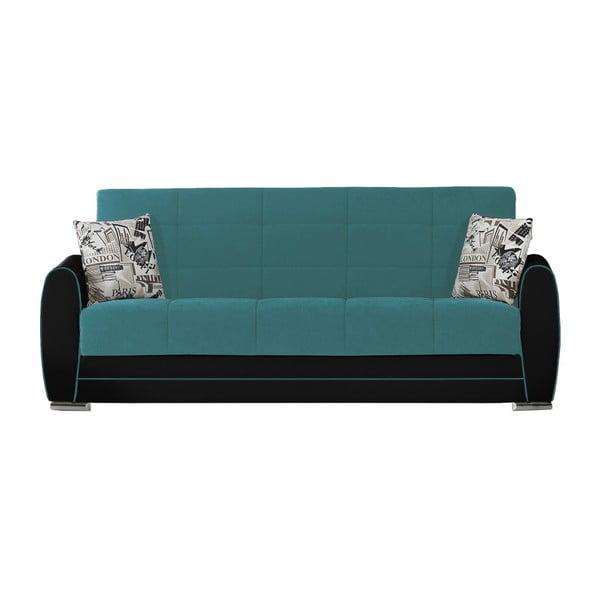 Turkusowo-czarna trzyosobowa sofa rozkładana ze schowkiem Esidra Rest