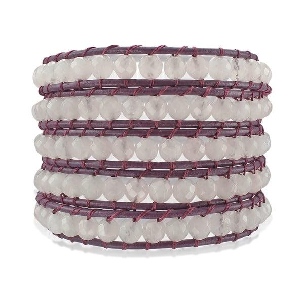 Fioletowa pięciorzędowa bransoletka ze skóry z perłami Lucie & Jade