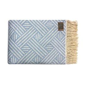 Niebieski pled bawełniany Fibre, 130x170cm