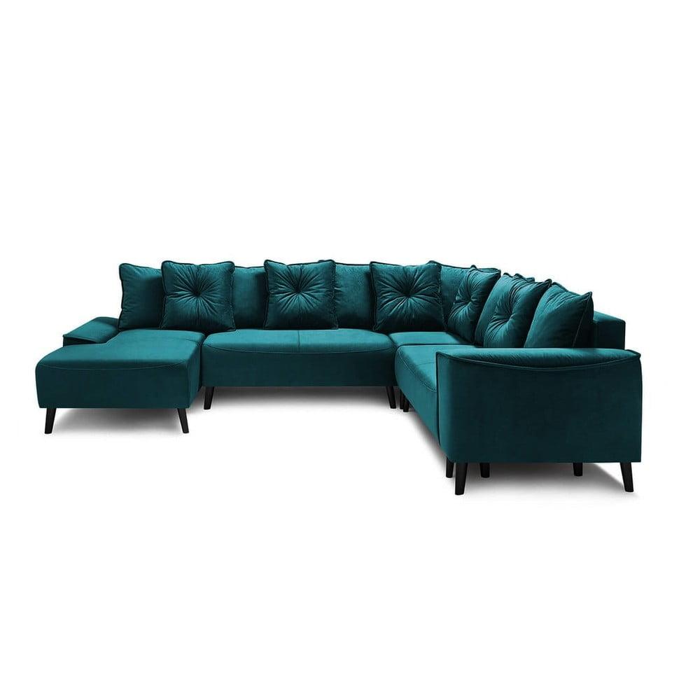 Morska aksamitna sofa rozkładana kształcie U Bobochic Paris Panoramique XXL Hera Bis, lewostronna
