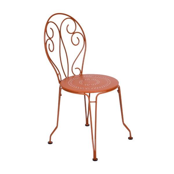 Pomarańczowe krzesło metalowe Fermob Montmartre