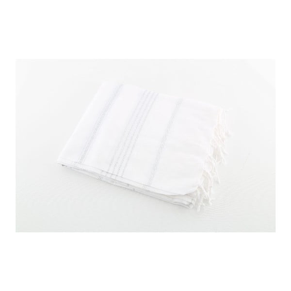 Biało-srebrny ręcznik Hammam Sultan, 100x180 cm