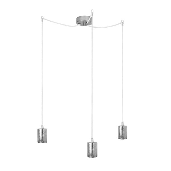 Biało-srebrna potrójna lampa wisząca Cero
