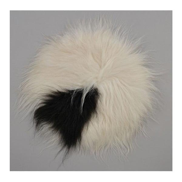 Czarno-biała poduszka futrzana do siedzenia z długim włosiem Spotted, Ø 35 cm