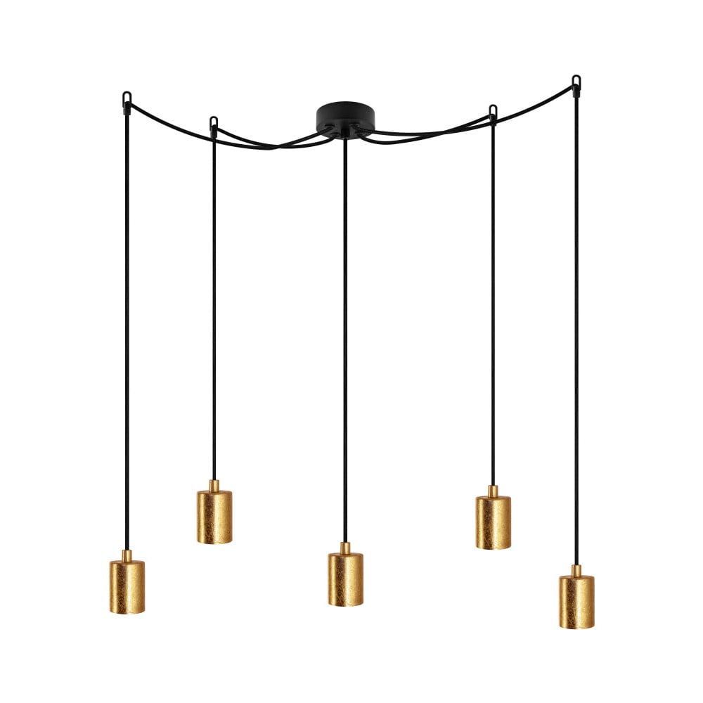 Czarna lampa wisząca z 5 kablami i oprawami żarówek w kolorze złota Bulb Attack Cero