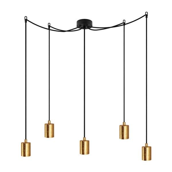 Czarna lampa wisząca z 5 kablami i oprawą żarówki w kolorze złota Bulb Attack Cero