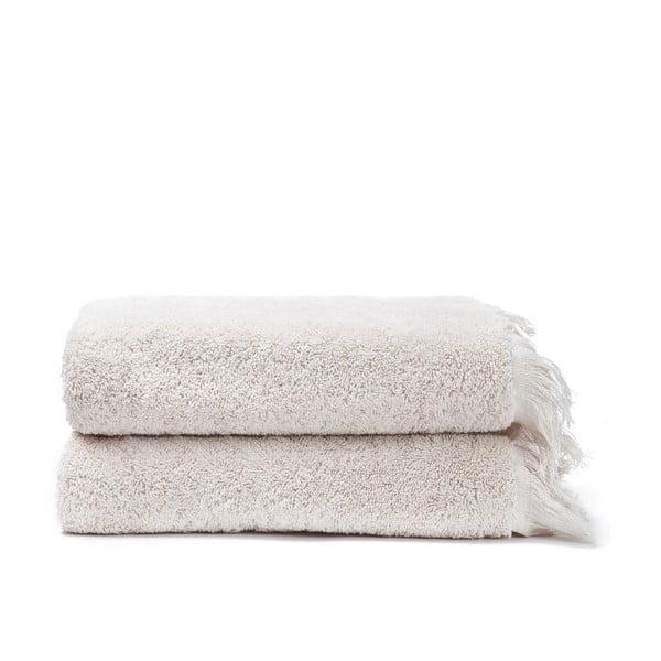 Komplet 2 kremowych ręczników bawełnianych Casa Di Bassi Face, 50x90 cm