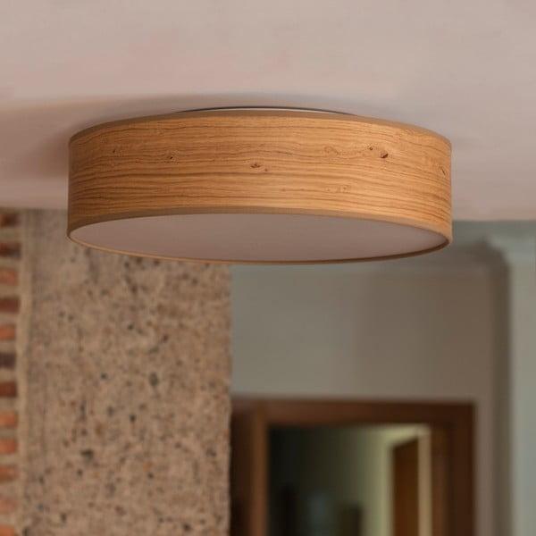 Jasnobrązowa lampa sufitowa z abażurem z naturalnego forniru Bulb Attack Ocho, ⌀ 40 cm