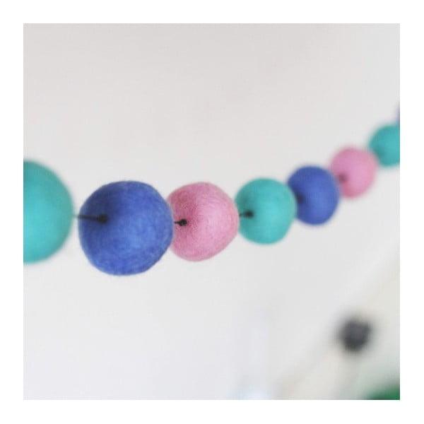 Girlanda z ręcznie wykonanych kulek Felt, różowo-niebieska
