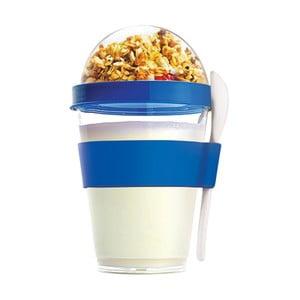 Niebieski pojemnik śniadaniowy Asobu Yo2GO, 360 ml