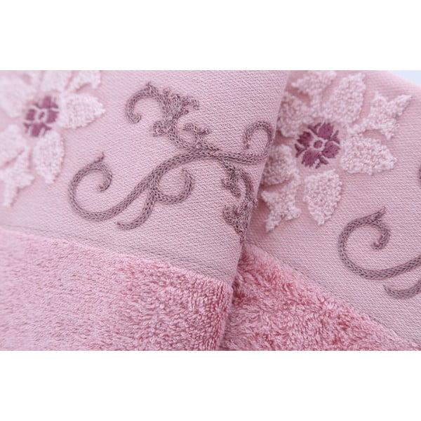 Zestaw 3 ręczników Cicek Dusty Rose