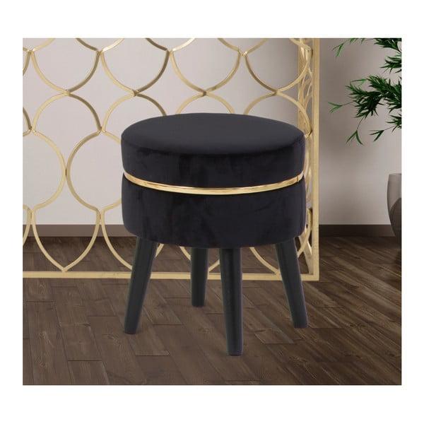 Czarny stołek tapicerowany Mauro Ferretti Paris