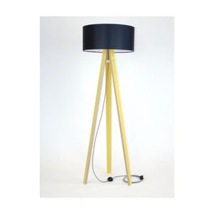 Żółta lampa stojąca z czarnym abażurem i czarno-białym kablem Ragaba Wanda