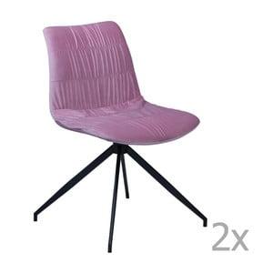 Zestaw 2 różowych krzeseł DAN– FORM Dazz