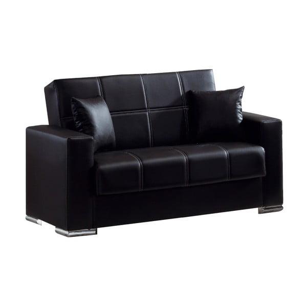 Czarna dwuosobowa sofa rozkładana ze schowkiem Esidra Soft