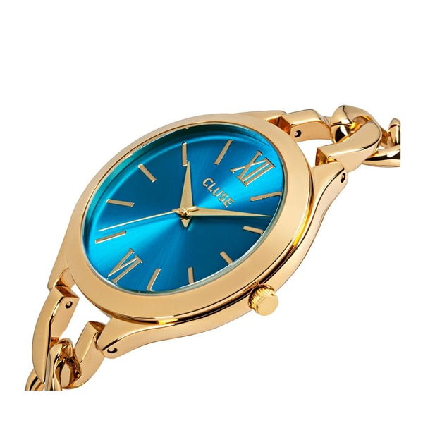 Zegarek damski Aubade Gold/Blue Lagoon, 40 mm