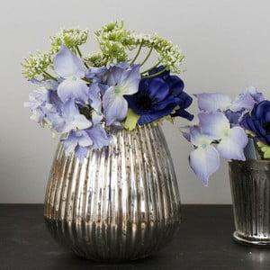 Szklany wazon ze sztucznymi kwiatami Hydrangea, 23 cm