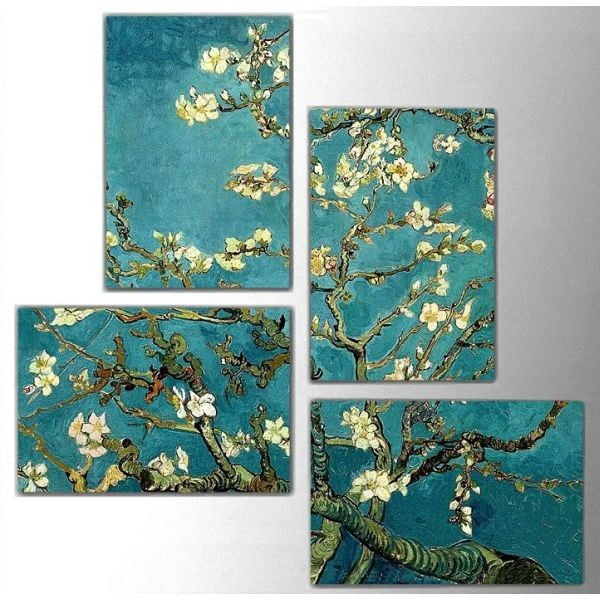 Czteroczęściowy obraz Art Flowers, 76x76 cm