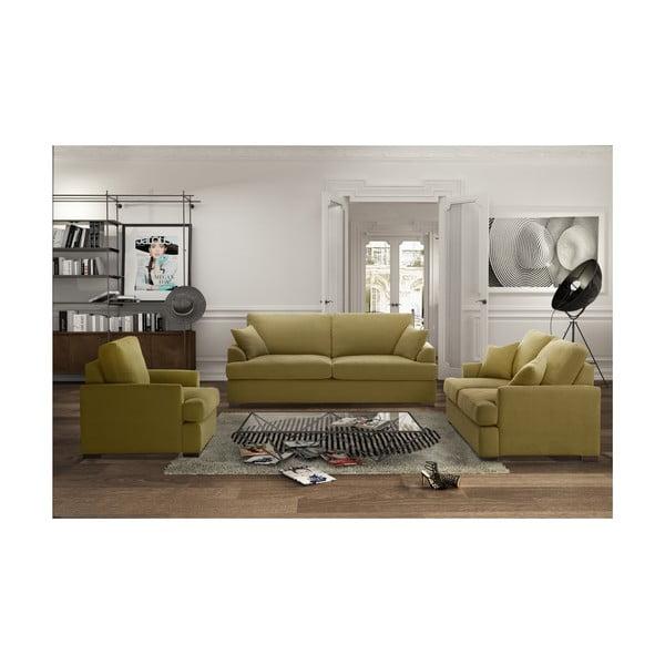 Żółty trzyczęściowy komplet wypoczynkowy Jalouse Maison Irina