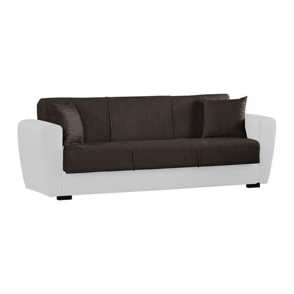 Brązowo-biała trzyosobowa sofa rozkładana ze schowkiem Esidra Comfort