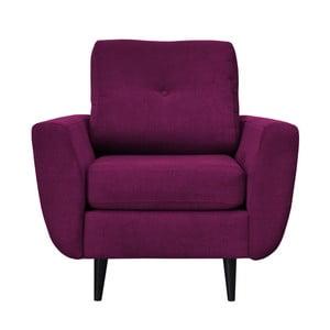 Fioletowy fotel z ciemnymi nogami Mazzini Sofas Cedar