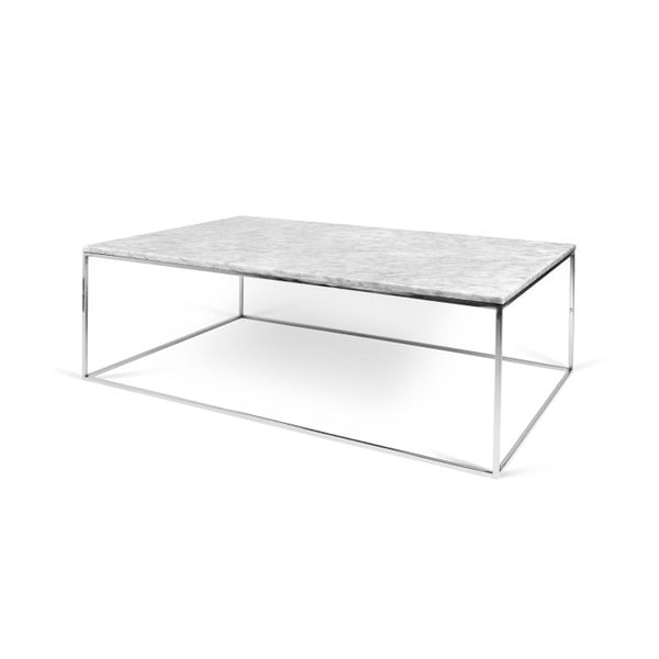 Biały stolik marmurowy z chromowanymi nogami TemaHome Gleam, 120 cm