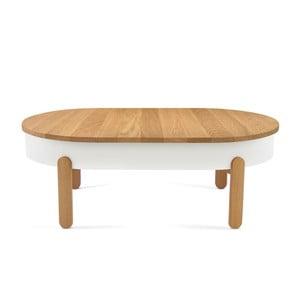Biało-brązowy stolik z drewna dębowego ze schowkiem Woodendot Batea L