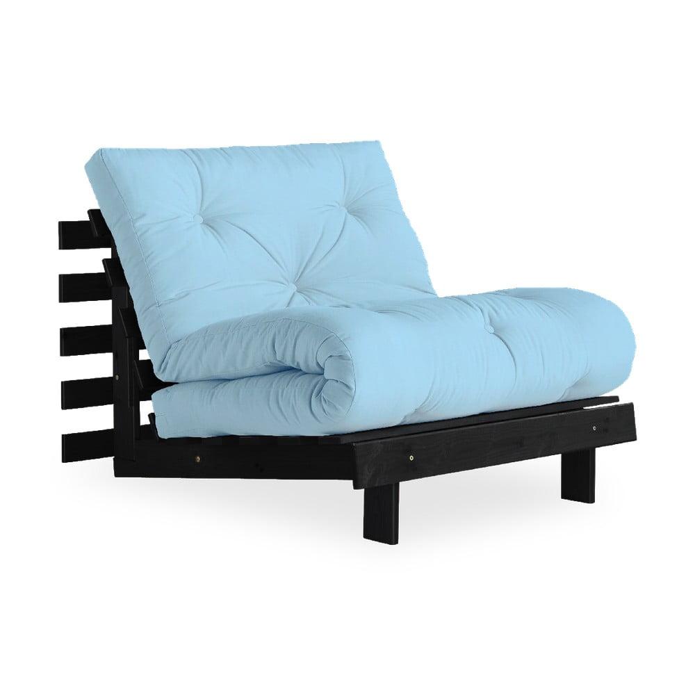 Fotel rozkładany z jasnoniebieskim pokryciem Karup Design Roots Black/Light Blue