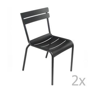 Zestaw 2 czarnych krzeseł Fermob Luxembourg