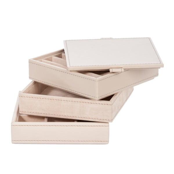 Trzypiętrowa szkatułka na biżuterię Art Beige, 13 cm