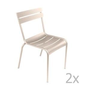 Zestaw 2 kremowych krzeseł Fermob Luxembourg