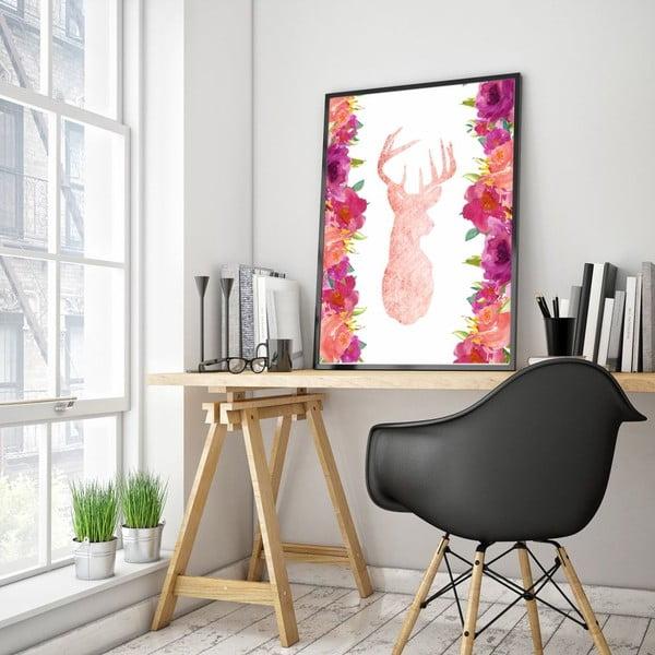 Plakat w drewnianej ramie Pink Deer, 38x28 cm