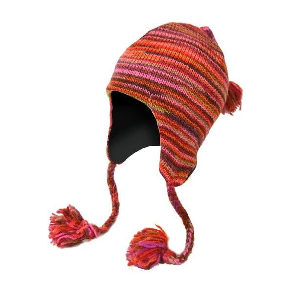 Wełniana czapka z uszami Spacedye Red