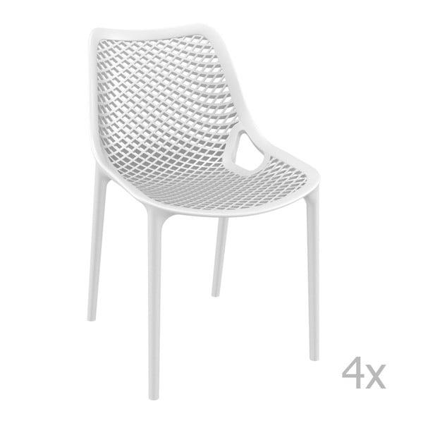Zestaw 4 białych krzeseł ogrodowych Resol Grid
