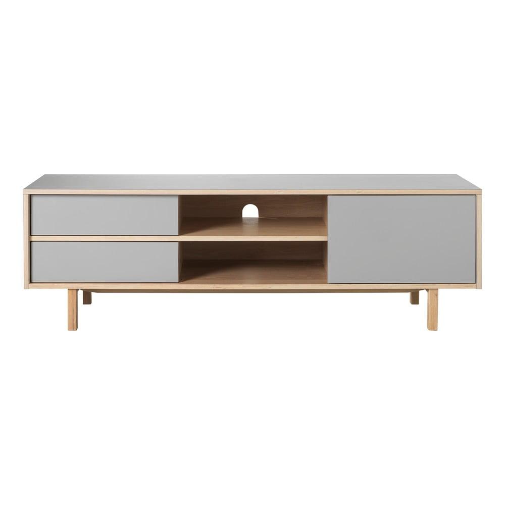 Szara szafka pod TV z nogami z drewna dębowego Unique Furniture Bilbao