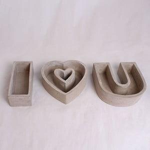 Zestaw 3 betonowych doniczek Dakls I Love You