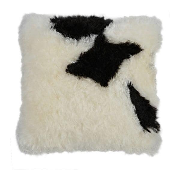 Czarno-biała poduszka futrzana z krótkim włosiem Spotted, 35x35 cm