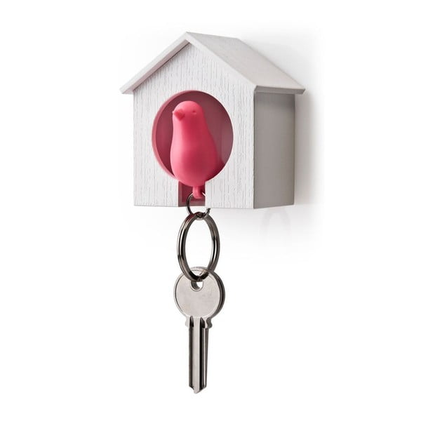 Wieszak na klucze wróbelek w budce, różowy