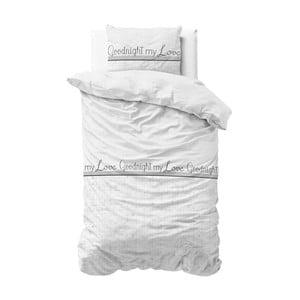 Biała pościel z mikroperkalu Sleeptime Goodnight my Love,140x220cm