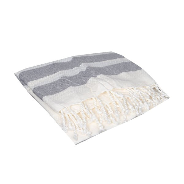 Czarny ręcznik hammam Mimoza Black, 90x190cm
