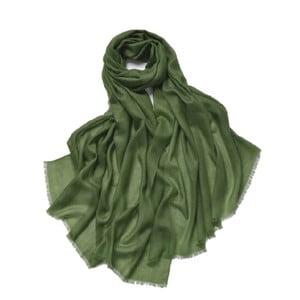 Zielony cienki szal kaszmirowy Bel cashmere Clara, 200x90cm