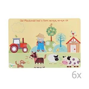 Zestaw 6   Dziecięcych podkładek stołowych Churchill Old Macdonald