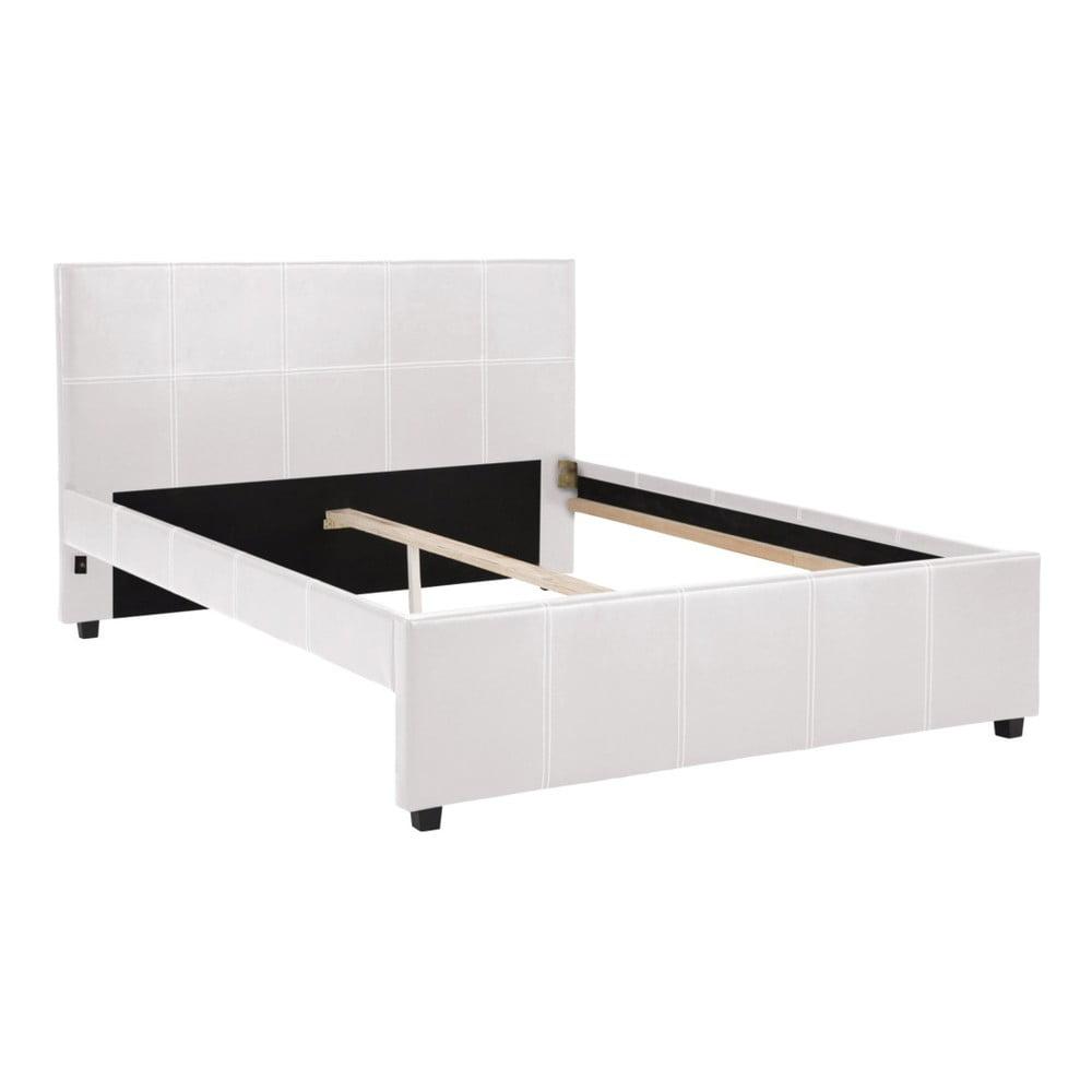 Białe łóżko dwuosobowe Støraa Margit, 140x200cm