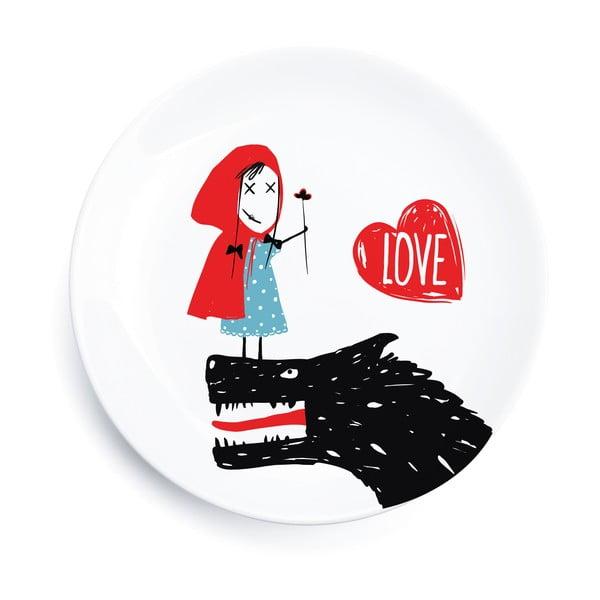 Zestaw 4 porcelanowych talerzy Little Red