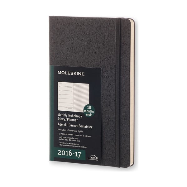 Czarny kalendarz tygodniowy Moleskine Hard, 18 miesięcy, duży