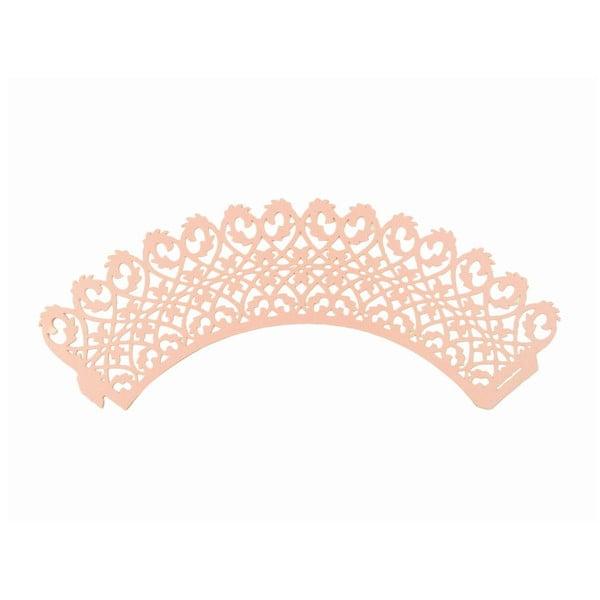 Zestaw 12 papierowych foremek do babeczek Pink Lace