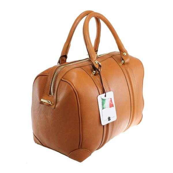 Karmelowa skórzana torebka Boston