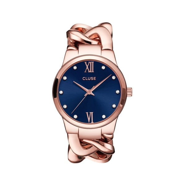 Zegarek damski Elegante Stones Rose Gold/Royal Blue, 38 mm